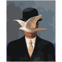 Человек в котелке и птица Раскраска картина по номерам на холсте