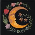 Луна Полумесяц с цветами 80х80 Раскраска картина по номерам на холсте