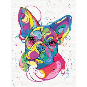 Французский бульдог на празднике/ Радужные собаки 60х80 см Раскраска картина по номерам на холсте с неоновыми красками AAAA-RS0