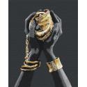 Золотые украшения в руках / Африканка Раскраска картина по номерам на холсте с металлической краской AAAA-RS078