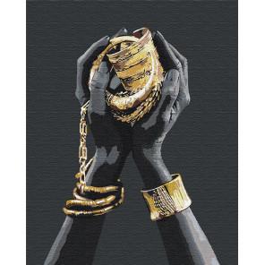 Пример в интерьере Золотые украшения в руках / Африканка 80х100 см Раскраска картина по номерам на холсте с металлической краск