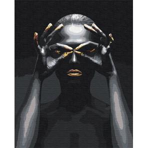 Пример в интерьере Золотые ресницы и губы / Африканка 100х125 см Раскраска картина по номерам на холсте с металлической краской