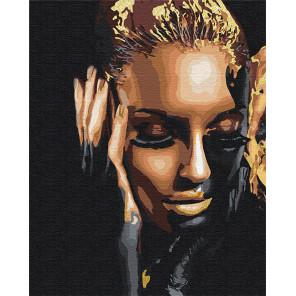 Пример в интерьере Стильная девушка / Африканка 80х100 см Раскраска картина по номерам на холсте с металлической краской AAAA-R