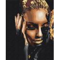 Стильная девушка / Африканка Раскраска картина по номерам на холсте с металлической краской AAAA-RS081