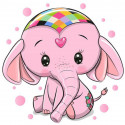 Розовый слоник Алмазная мозаика вышивка Гранни