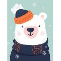 Снежный мишка Алмазная мозаика вышивка Гранни