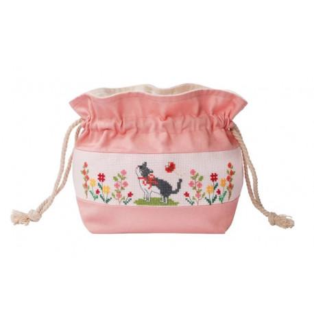 Цветок и кошка Набор для вышивания сумки на шнурке XIU Crafts 2860503