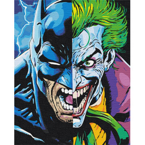 Пример в интерьере Бэтман и Джокер 80х100 см Раскраска картина по номерам на холсте с неоновыми красками AAAA-RS083-80x100