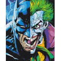 Бэтман и Джокер Раскраска картина по номерам на холсте с неоновыми красками AAAA-RS083