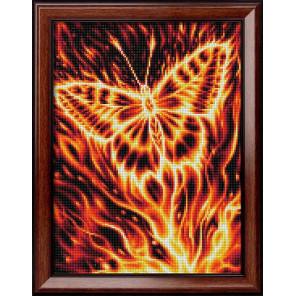 Пример оформления в рамку Огненная бабочка Алмазная вышивка мозаика АЖ-1854