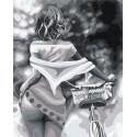 Девушка / Прогулка с велосипедом 80х100 см Раскраска картина по номерам на холсте AAAA-RS084-80x100