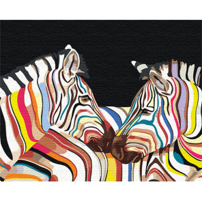 Радужные зебры 100х125 см Раскраска картина по номерам на холсте с неоновыми красками AAAA-RS101-100x125