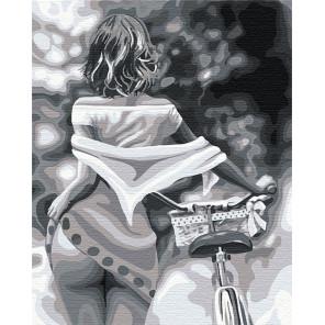 Девушка / Прогулка с велосипедом Раскраска картина по номерам на холсте AAAA-RS084