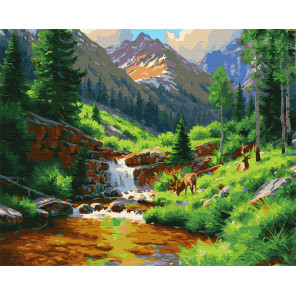 Водопад среди деревьев Раскраска картина по номерам на холсте GX25200