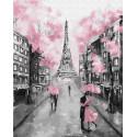 Серо-розовый Париж Раскраска картина по номерам на холсте GX22055