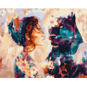 Девушка и пантера Раскраска картина по номерам на холсте GX22875