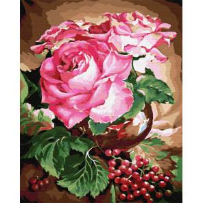 Розы и клюква Раскраска картина по номерам на холсте GX22073