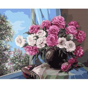 Пионы в вазе Раскраска картина по номерам на холсте GX9406