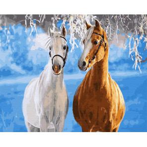 Лошади зимой Раскраска картина по номерам на холсте GX29795