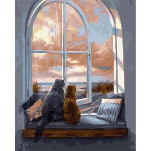 Кошки на окне Раскраска картина по номерам на холсте GX22048
