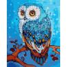 Голубая сова на ветке Раскраска картина по номерам на холсте GX32874