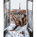 Отдых в Париже Раскраска картина по номерам на холсте GX37195