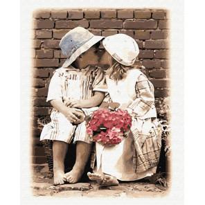 Детский поцелуй Раскраска картина по номерам на холсте GX8599