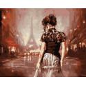 Одинокая девушка в Париже Раскраска картина по номерам на холсте GX9177