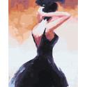 Девушка в черном платье Раскраска картина по номерам на холсте GX29898