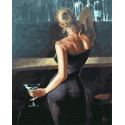 Девушка с бокалом мартини Раскраска картина по номерам на холсте GX33818