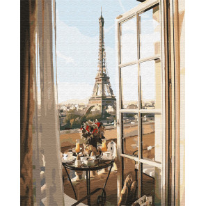 Вид из окна на Эйфелеву башню Раскраска картина по номерам на холсте GX32906