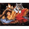 Женщина и волк Раскраска картина по номерам на холсте GX9032