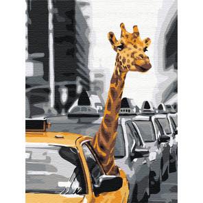 Пример в интерьере Жираф в большом городе 60х80 см Раскраска картина по номерам на холсте AAAA-RS053-60x80