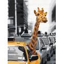 Жираф в большом городе 75х100 см Раскраска картина по номерам на холсте AAAA-RS053-75x100