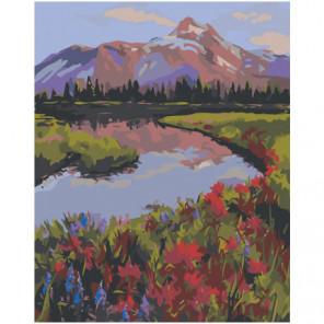 Озеро в горах 80х100 Раскраска картина по номерам на холсте