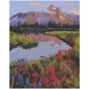 Озеро в горах 100х125 Раскраска картина по номерам на холсте