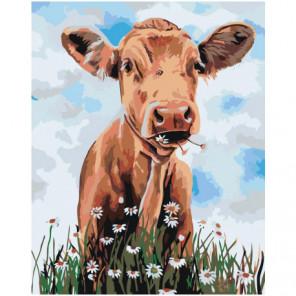 Корова с ромашками 100х125 Раскраска картина по номерам на холсте