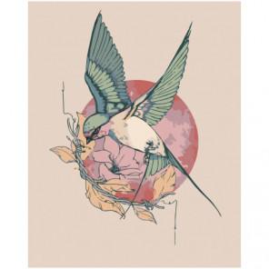 Колибри на цветке 100х125 Раскраска картина по номерам на холсте