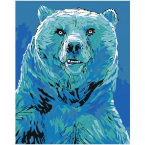 Белый медведь в синих тонах Раскраска картина по номерам на холсте