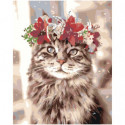 Кошка с цветочным венком Раскраска картина по номерам на холсте