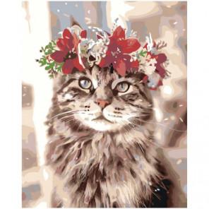 Кошка с цветочным венком 80х100 Раскраска картина по номерам на холсте