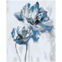 Голубой цветок абстракция 100х125 Раскраска картина по номерам на холсте