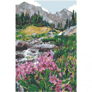 Горная река с цветами Раскраска картина по номерам на холсте