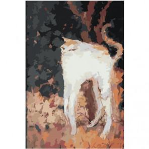Белый кот абстракция Раскраска картина по номерам на холсте