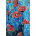 Маки абстракция 100х150 Раскраска картина по номерам на холсте