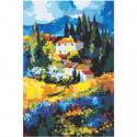 Дом в горах абстракция 80х120 Раскраска картина по номерам на холсте