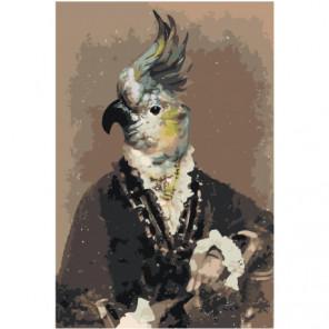 Попугай в костюме 80х120 Раскраска картина по номерам на холсте