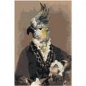 Попугай в костюме 100х150 Раскраска картина по номерам на холсте
