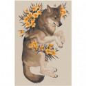 Волк с цветами Раскраска картина по номерам на холсте