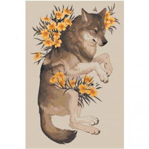 Волк с цветами 80х120 Раскраска картина по номерам на холсте
